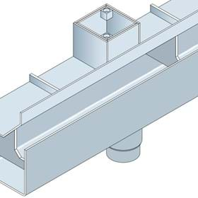 Drawing of a stainless steel hidden channel for threshold drainage